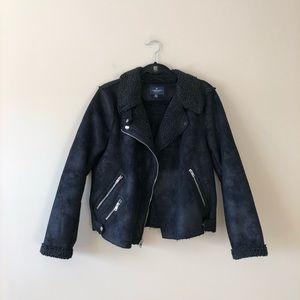 American Eagle Outfitters black moto style jacket